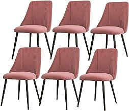 ZCXBHD Zestaw 6 krzeseł do jadalni tkanina flanelowa z oparciem tapicerowane siedzisko z czarnymi metalowymi nogami krzesł...