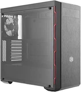 Cooler Master MasterBox MB600L with ODD, Red Trim Computer Case 'Brushed Front Panel, PSU Shroud, Window Side Panel' MCB-B...