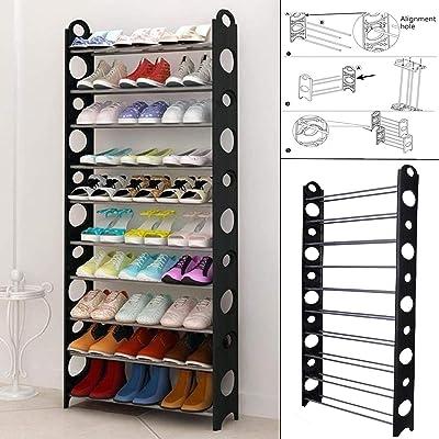 Splink-tech Safecom - Estante Organizador de Zapatos de 10 Niveles Ajustable para 30 Pares
