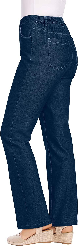 Woman Within Women's Plus Size Petite Side-Elastic Straight Leg Cotton Jean