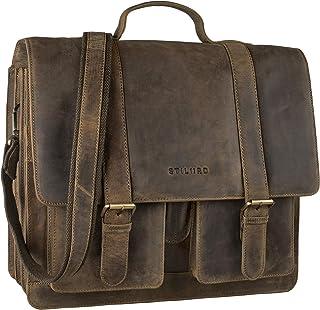 """STILORD Marius"""" Klassische Lehrertasche Leder Schultasche XL groß Aktentasche zum Umhängen Businesstasche Laptoptasche echtes Rindsleder"""
