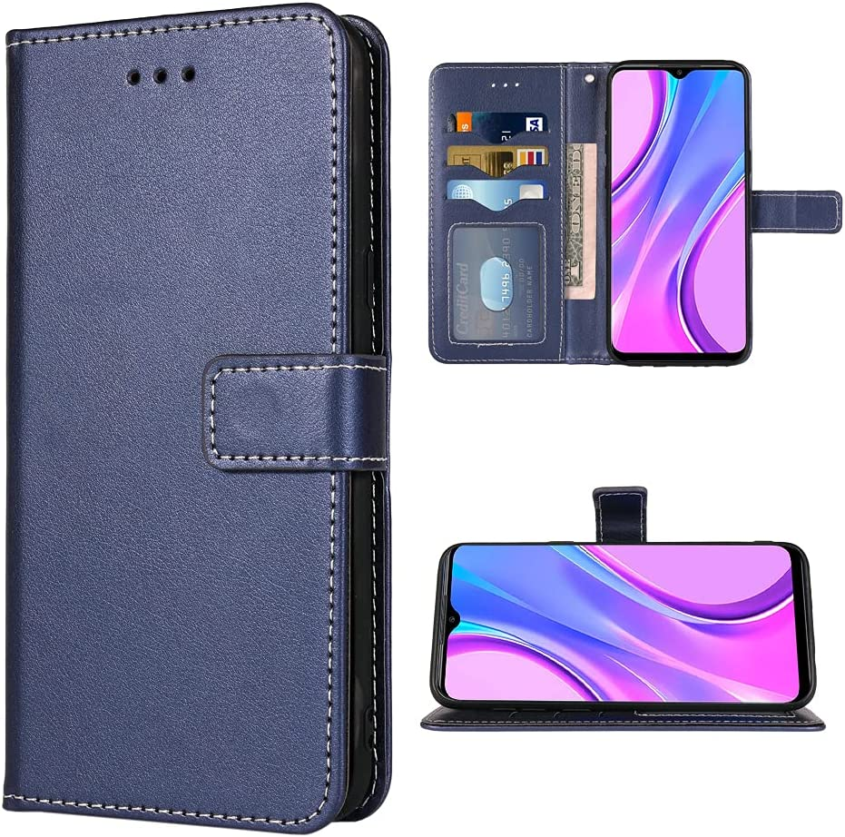 FDCWTSH Compatible with Xiaomi Redmi 9 Wallet Case Wrist Strap Lanyard Leather Flip Cover Card Holder Stand Cell Accessories Phone Cases for Xiami Xiomis Xiome Redmi9 Prime Poco M2 Women Men Blue