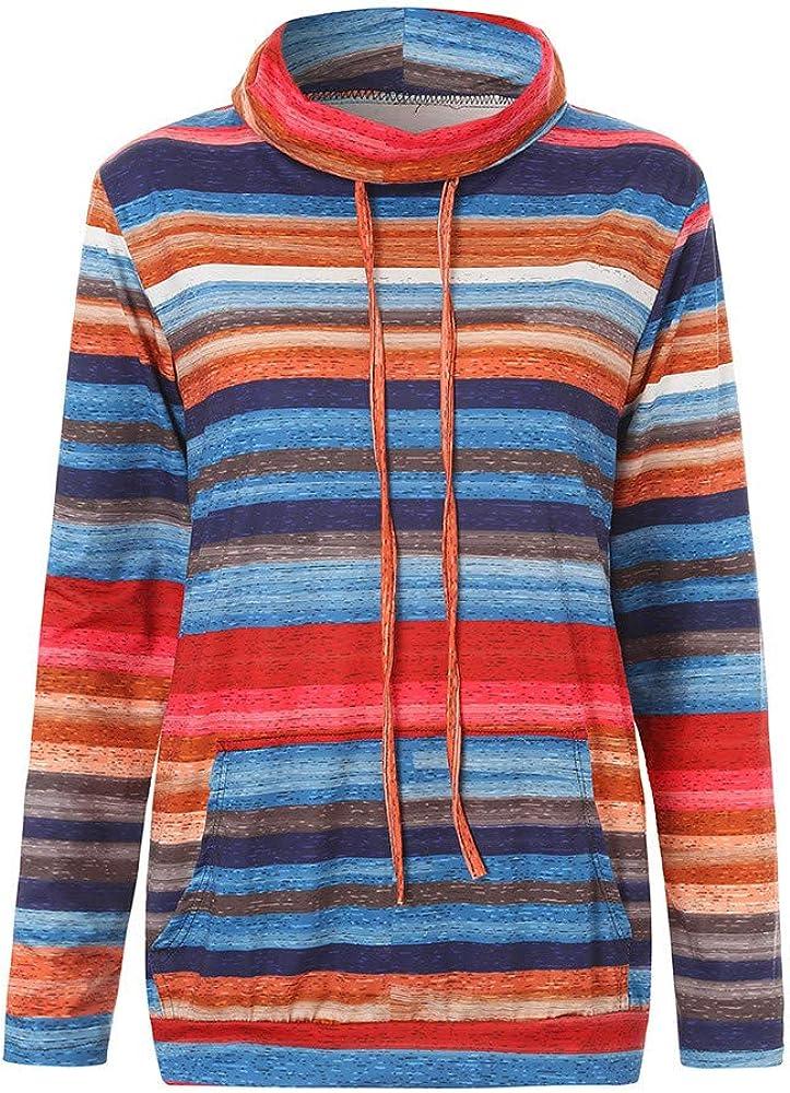 NPRADLA 2020 Herbst Frauen Sweatshirt Lang Damen Pullover Winter Rollkragen Gestreift Langarm Tasche Kordelzug Top Rot