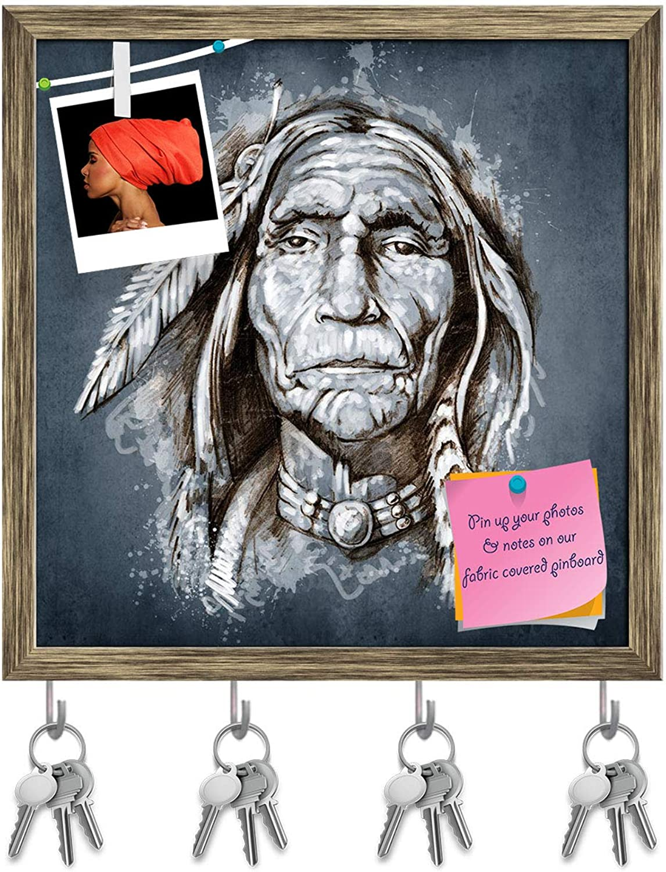 Artzfolio Portrait of American Indian Head Key Holder Hooks   Notice Pin Board   Antique golden Frame 16 X 16.4Inch