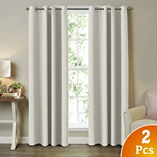 Bedroom Room Darkening Draperies Eyelet Top Room Darkening Panels/Curtains/Drapes for Bedroom Thermal Insulated Solid Grommet Window Curtains for Hall Room (2 Panels, W52 x L84 -Inch, Cream)