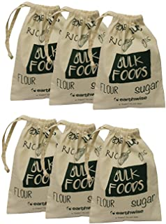 Earthwise Cotton Reusable Produce Bags for Shopping & Storage of Bulk Foods,Nuts, Grains,Rice, Flour, Sugar Produce Drawst...
