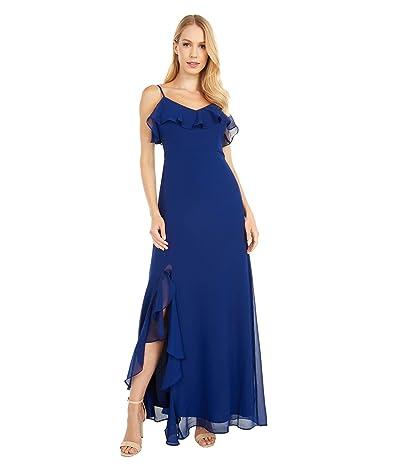 BB Dakota Final Fancy Textured Chiffon Maxi w/ Ruffle Slit Dress (Vintage Blue) Women