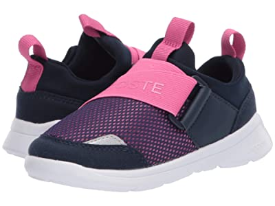 Lacoste Kids LT Dash Slip 120 1 SUI (Toddler/Little Kid) (Navy/Pink) Girl