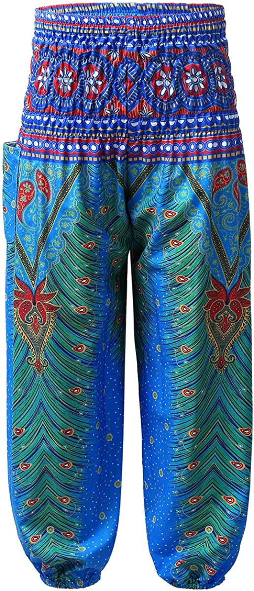 FEESHOW Kids Girls Smocked Waist Bohemian Boho Baggy Harem Pants Hippie Yoga Sports Bangkok Palazzo Pants