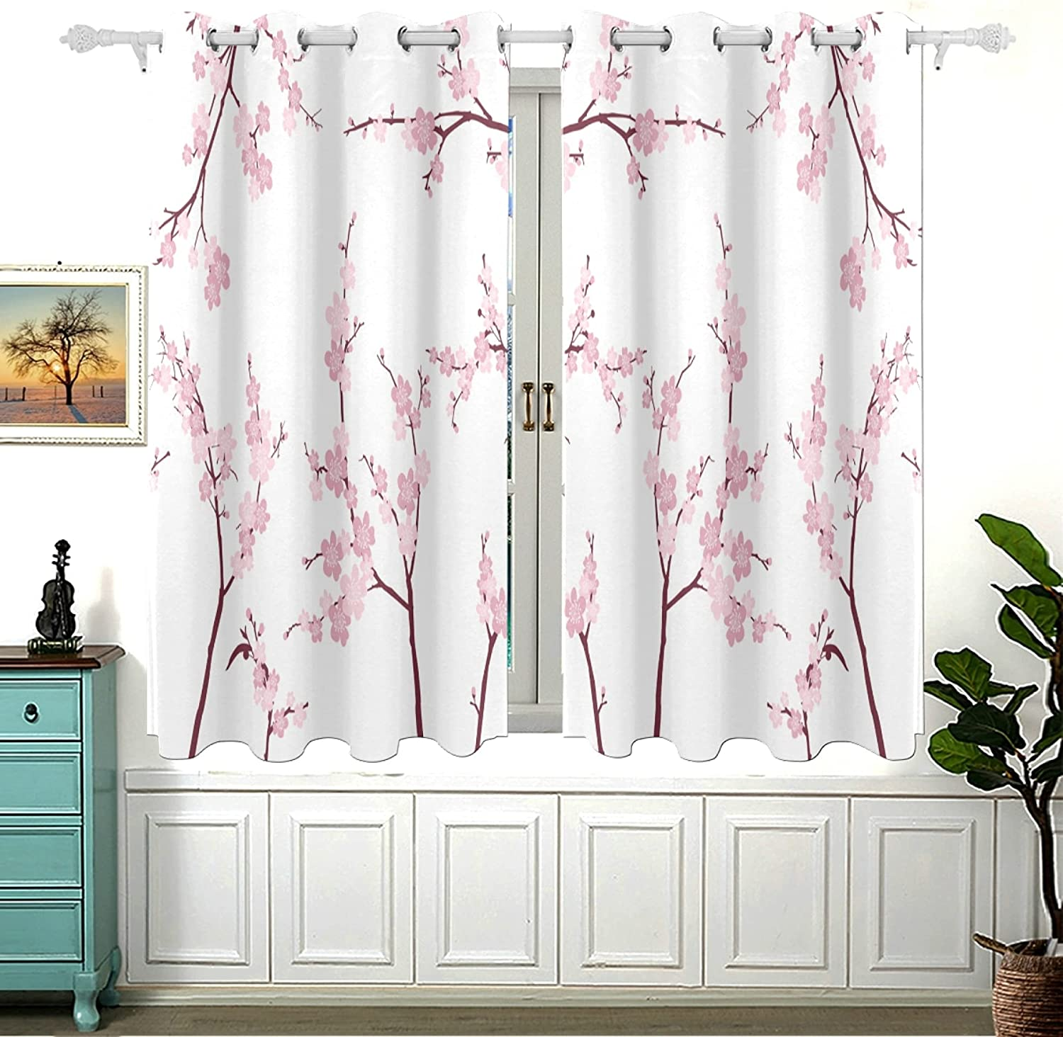 Retro Japanese Pink Cherry National products Blossom Bedroom Darkening for Ou Dealing full price reduction Room