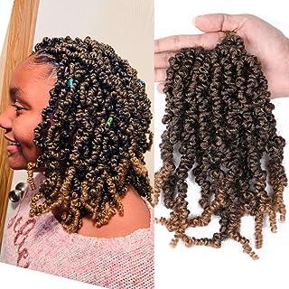 "Mtmei hair 5Packs 10"" Pre-twisted Spring Twist Hair Crochet Braids 15 Strands/Pack Nubian Bomb Twist Crochet Hair Messy Fl..."