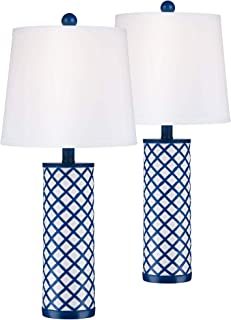 Gisele Modern Coastal Table Lamps Set of 2 Blue Lattice Pattern Column White Tapered Drum Shade for Living Room Bedroom Bedside Nightstand Office Family - 360 Lighting