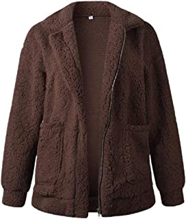 xiaohuoban Womens Fashion Lapel Faux Suede Open Front Long Sleeve Jacket Outwears
