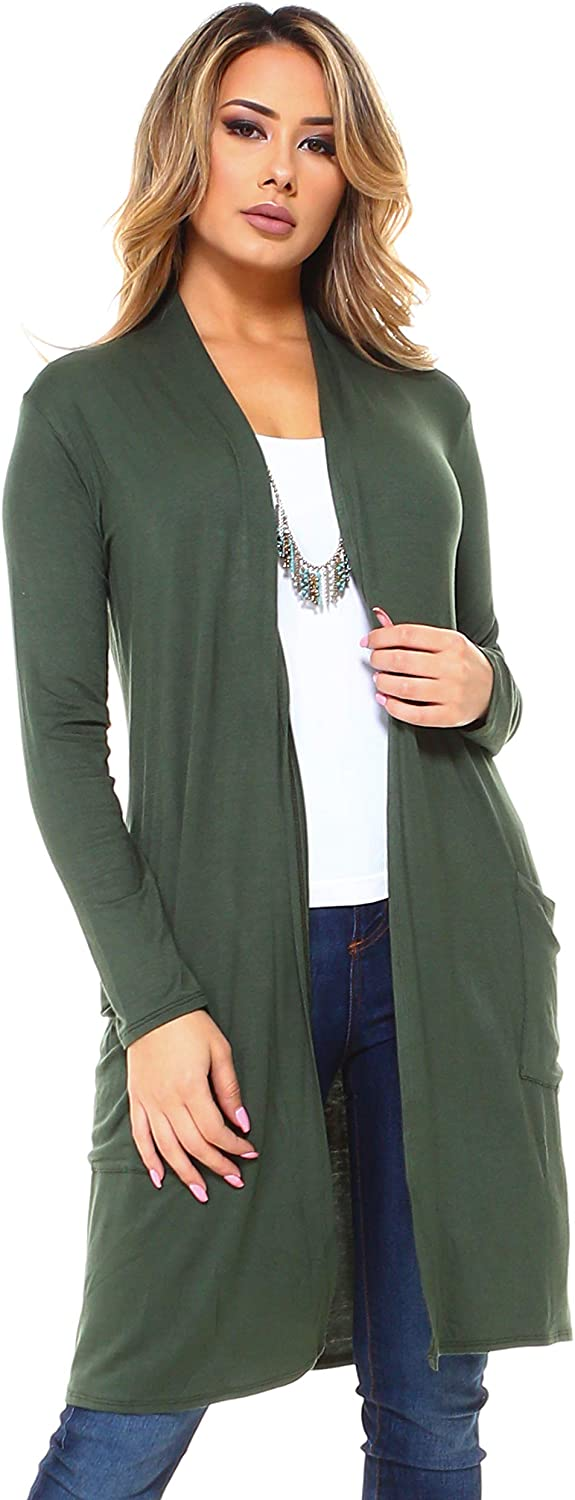 Isaac Liev Women's Long Lightweight Cardigan with Front Pockets