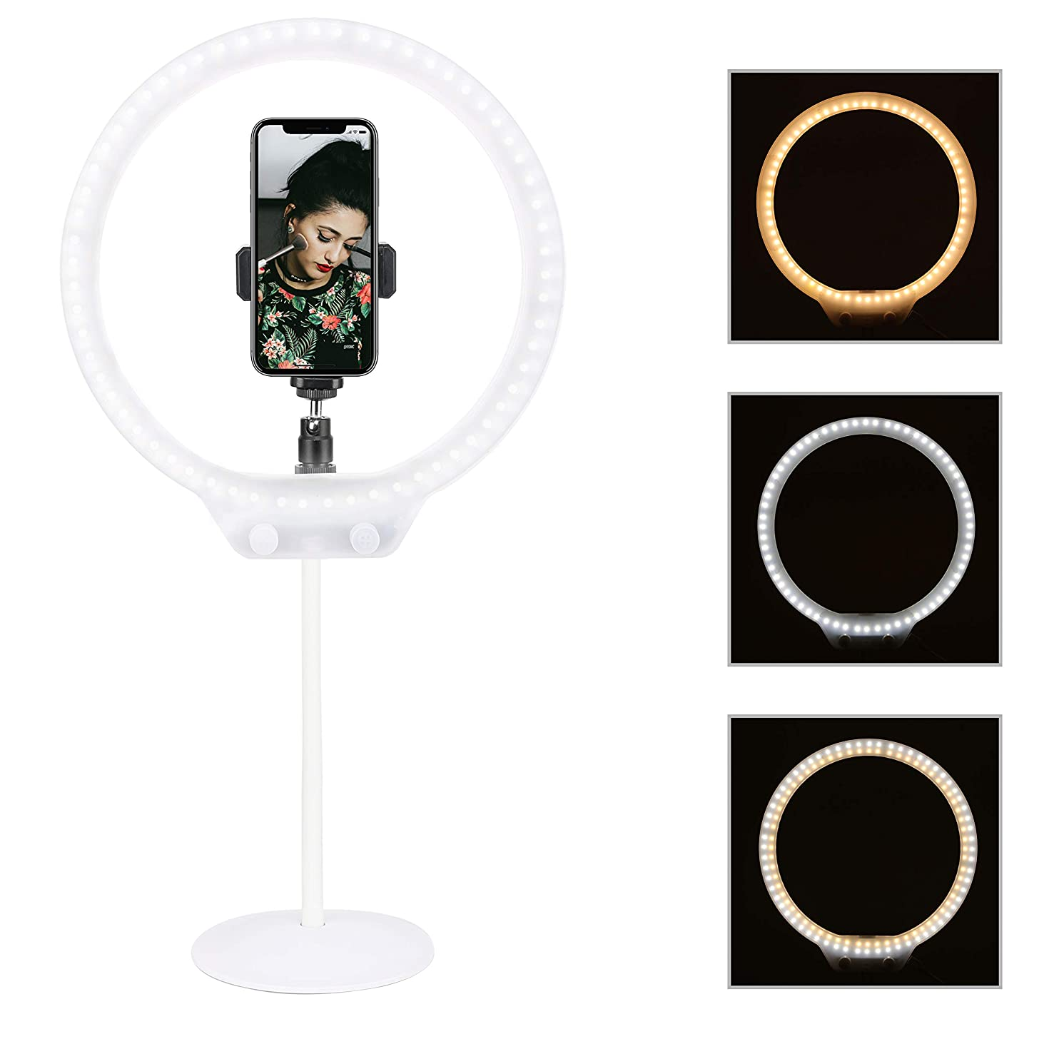 Zomei 10'' LED Selfie Ring Light Dimmable 7.5W 3200-5500K  USB Desktop Circle Light  for YouTube Video, Portrait Photography,  Makeup,Compatible with iPhone 8 7 6 Plus X Android(White)