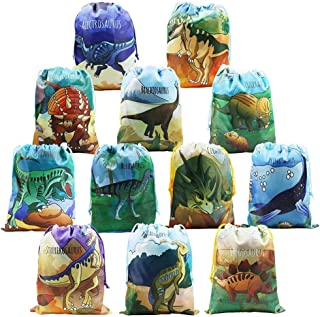 BeeGreen Dinosaur Party Supplies Favors Bags for Kids Boys and Girls Birthday 12 Pack Dino Drawstring Gift Pouch for Goody