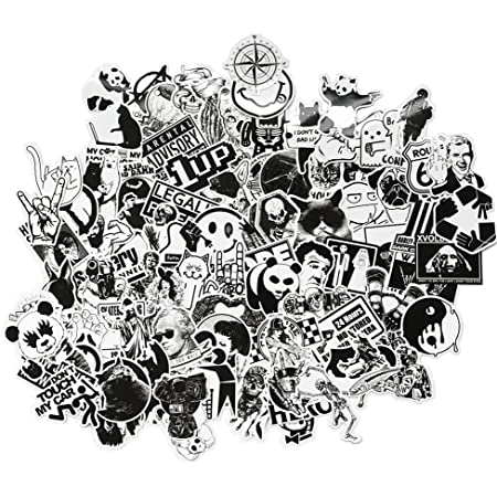 Barisc Stickers of Black and White 100-Pack Graffiti Waterproof Vinyl Decals for Laptop Water Bottle Guitar Refrigerator Skateboard Snowboard Bike Motorcycle Car Gift Choice for Kids Teens