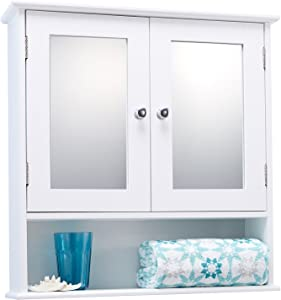 Double Door White Bathroom Mirror Cabinet Mirrored Bathroom Cabinet by Portland
