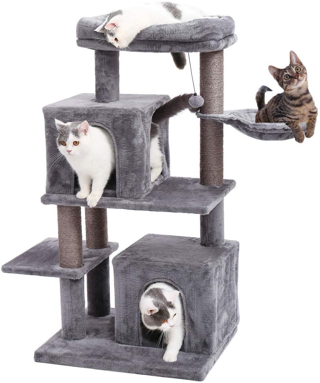 Eono by Amazon Árboles Escalador para Gatos Nidos Rascadors Arañazo Sisal Cubierto Columnas Poste Casa Cueva con Cama para Gatitos Bolas Juguetes Gris: Amazon.es: Productos para mascotas