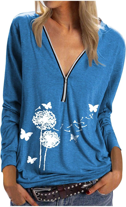 Save 2021 model money Women's Long Sleeve Zip Up V Oversized Sw Top Blouses Light Neck