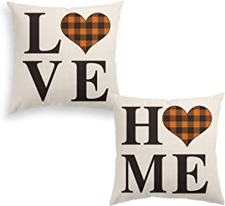 AVOIN Set of 2 Buffalo Check Plaid Love Heart Home Throw Pillow Cover, 18 x 18 Inch Brown and Black Holiday Fall Thanksgiving Farmhouse Cushion Case for Sofa Couch