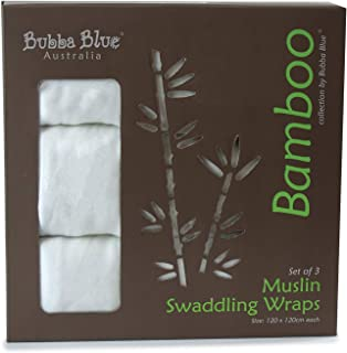 Bubba Blue Bamboo Muslin Swaddle Wraps Trio Pack, White, 3 Count