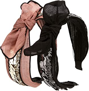 LONEEDY 2 Pack Vintage Sequin Hard Headbands Turban with Bow, Bunny Ears Cute Hair Band for Women Girls (Brown+Black)