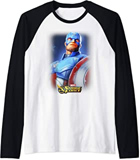 Marvel Strike Force Captain America Portrait Poster Raglan Baseball Tee