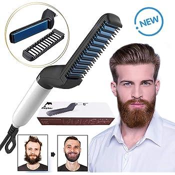 Dolphor Redresseur de barbe,Chauffe Rapidement avec Pinceau Styler pour Hommes, lissage des Cheveux bouclés, Styler rapide pour les hommes, Rapide