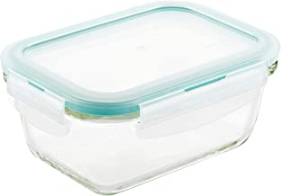 LOCK & LOCK Purely Better Glass Food Storage Container with Lid, Rectangle-14 oz, Clear