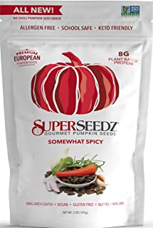 Superseedz Gourmet Roasted Pumpkin Seeds | Somewhat Spicy | Whole 30, Paleo, Vegan & Keto Snacks | 8g Plant Based Protein ...