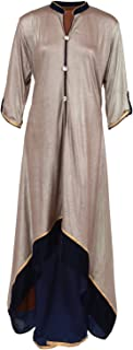 Fatiz Women's Net Salwar Suit (284, Silver Grey, XL)