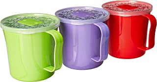Zilpoo 3 Pack - Extra Large Soup Mug with Vented Lid and Handle 37 Ounce | Plastic Microwaveable Coffee Cup with Cover | Microwave Safe Jumbo Noodle Bowl