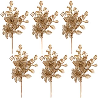 Valery Madelyn 6 Packs Gold Glitter Christmas Picks with Artificial Flower and Leave for Christmas Decoration and Home Decor