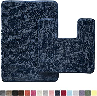 GORILLA GRIP Original Shaggy Chenille 2 Piece Bath Rug Set, Includes Square U-Shape Contoured Toilet Mat & 30x20 Carpet Rug, Machine Wash/Dry Mats, Plush Rugs for Tub Shower & Bath Room, Navy Blue