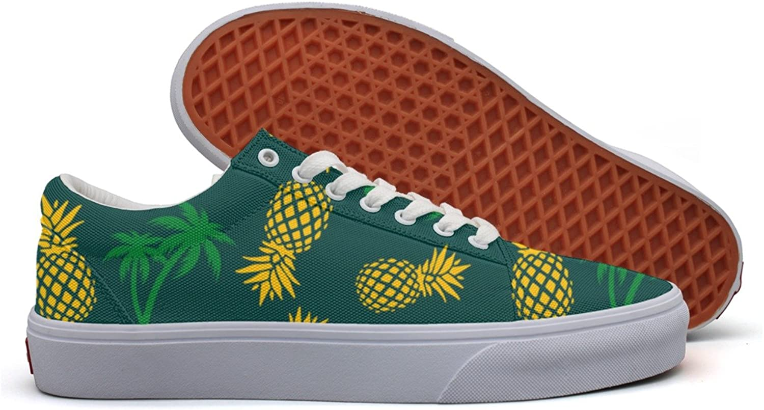 Pineapple And Palm Tree Women's Casual Sneakers shoes Flat Lo-Top Low Top Simple