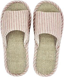 Ladies Linen Slippers, Home Floor Open Toe Slippers Linen Bacteriostatic Effectively Prevents Foot Sweat Slippers Anti-Slip PVC Bathroom Slipper