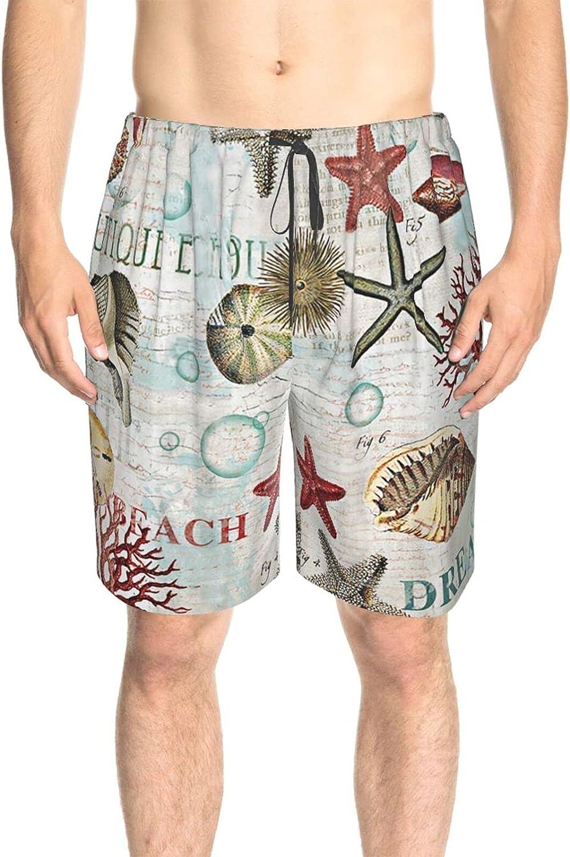 JINJUELS Mens Swim Trunks Beach Seafish Shell Beach Board Shorts Drawstring Elastic Summer Boardshorts with Liner