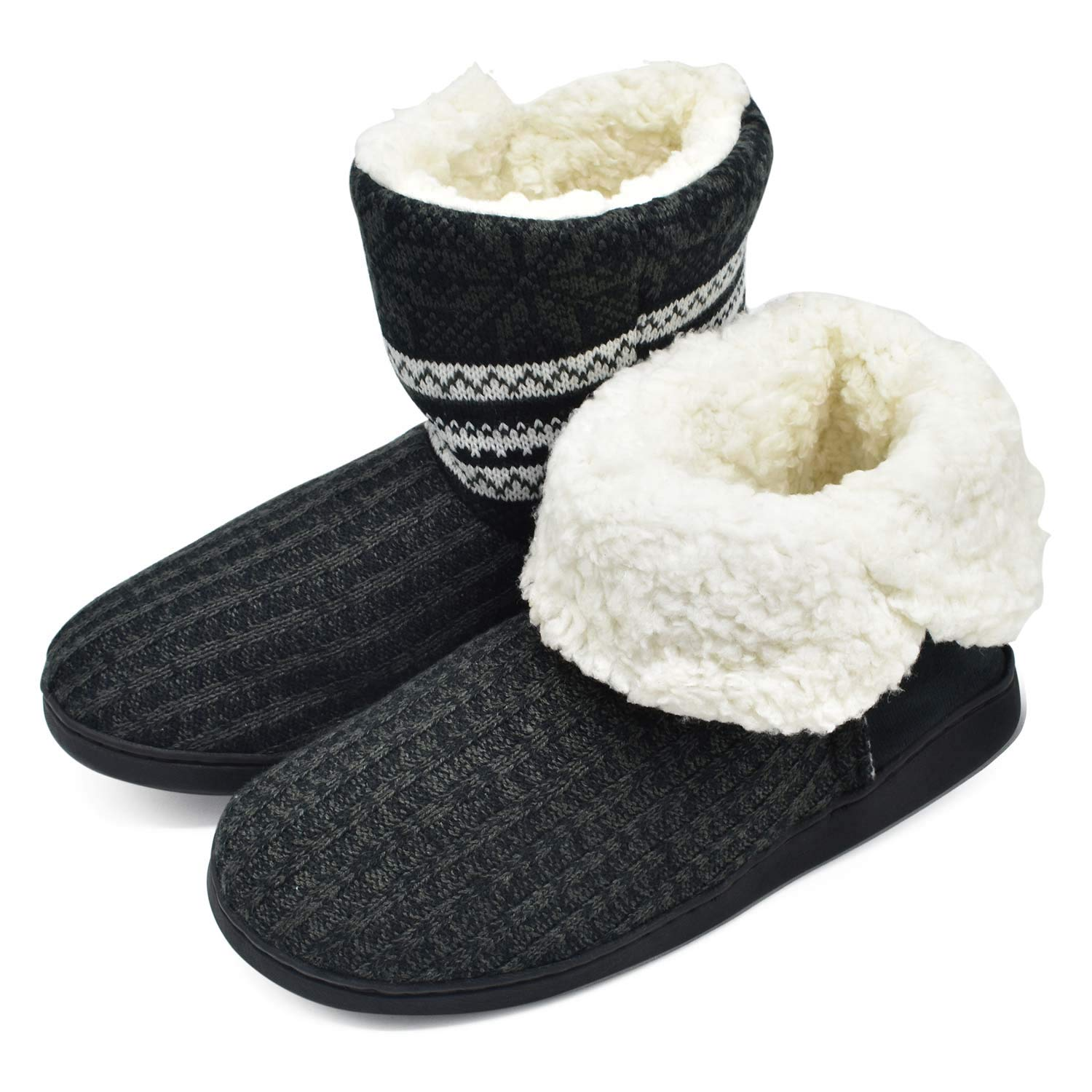Image of Breathable Cable Knit Boot Slipper for Women - See More Colors/Patterns