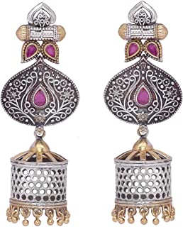 Aheli Uniquely Designed Oxidized Jhumki Earrings Intricate Crafted Indian Ethnic Wedding Fashion Jewelry for Women