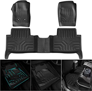 EBESTauto All-Weather Floor Mats Fit for 2015-2020 Chevy Colorado Crew Cab / GMC Canyon Crew Cab Black TPE Liner Floor Mats (4 Full-Size Doors)