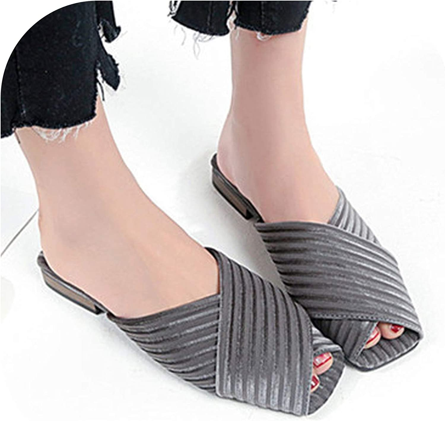 Women Sandals Middle Heels Mules shoes Party peep Toe Slip-on shoes Slippers