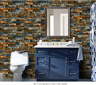 Junyin 3D Wallpaper 17.71 in X 120 in Self-Adhesive Removable and Stick Wallpaper Decorative Wall Covering Panel Interior Film