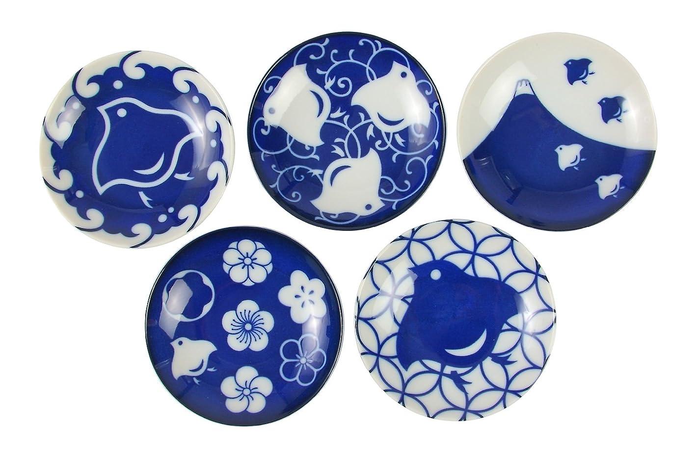 新年オートマトンレタスみのる陶器 千鳥づくし 豆皿 5柄セット
