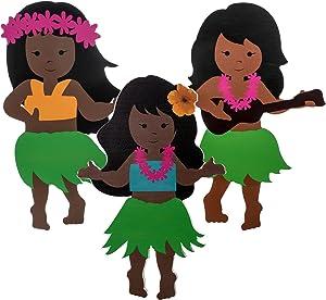 Jetec 3 Pieces Wooden Dancing Hawaiian Hula Girls Dress Hawaii Tabletop Decorations Tiered Tray Farmhouse Sign Ornament Hawaiian Hula Summer Party Decor