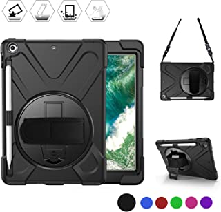 """BRAECN iPad 9.7 2018/2017 Case - Heavy Duty Shockproof Rugged Case with Pencil Holder, Shoulder Strap & Rotating Hand Strap/Stand for iPad 9.7"""" 6th/5th Generation A1893/A1954/A1822/A1823 Tablet-Black"""
