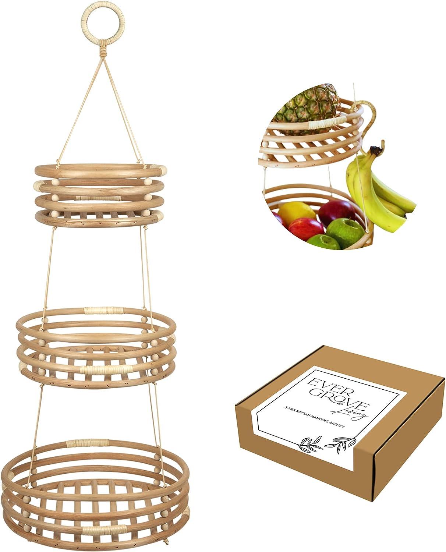 EVERGROVE 3 Tier Hanging Fruit Very popular Hanger: Banana Kitche Ranking TOP2 Basket with