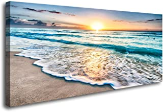 Baisuart S02262 Canvas Prints Wall Art Beach Sunset Ocean Waves Nature Pictures Stretched Canvas Wooden Framed for Living Room Bedroom and Office (Renewed)