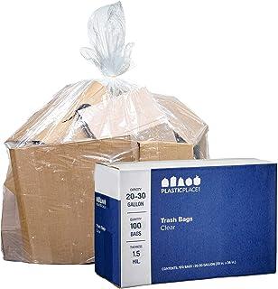 "Plasticplace Clear 25 - 30 Gallon Trash Bags , 30"" x 36"",1.5 Mil, 100/Case"