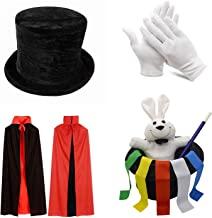 PINKYSTAR Kids Magician Role Play Set with Magic Cape Top Hat Rabbit Magic Wand Gloves and Coloring Ribbons